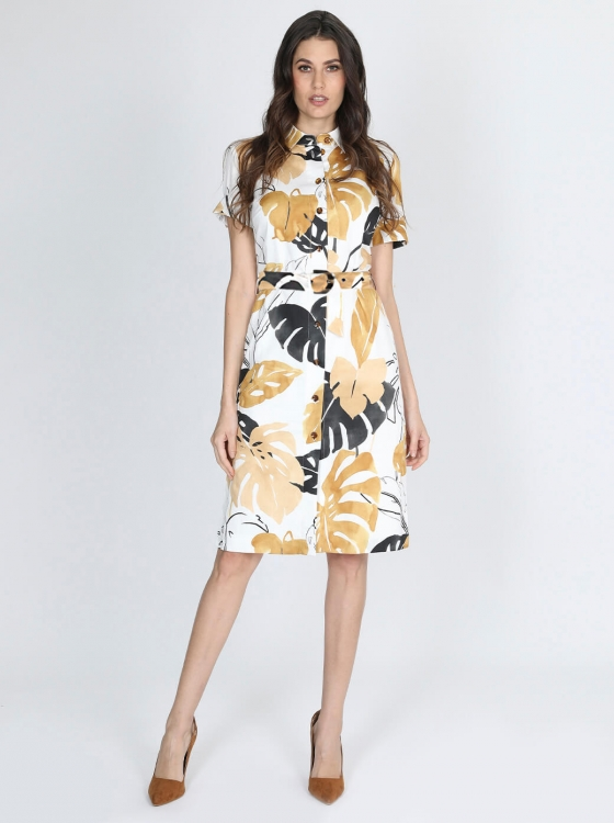 Vestido camisero con estampado tropical