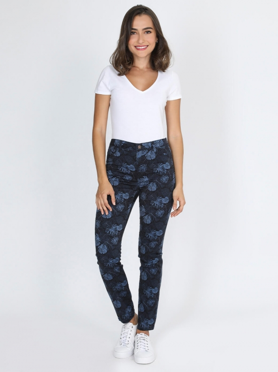 Jeans azules estampado tropical